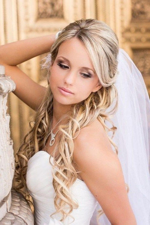 Half Up Half Down Wedding Hairstyles – 50 Stylish Ideas For Brides Intended For Tender Bridal Hairstyles With A Veil (View 2 of 25)