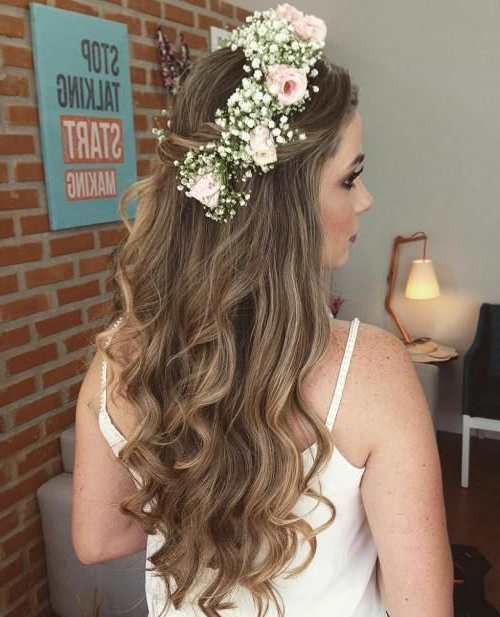 Half Up Half Down Wedding Hairstyles – 50 Stylish Ideas For Brides Throughout Floral Crown Half Up Half Down Bridal Hairstyles (View 6 of 25)