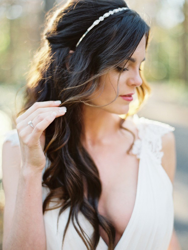 Half Up, Half Down Wedding Hairstyles For Every Type Of Bride | Brides Inside Pulled Back Layers Bridal Hairstyles With Headband (View 12 of 25)