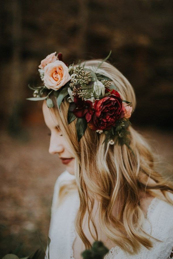 Half Up Half Down Wedding Hairstyles With Flower Crown For Fall Regarding Floral Crown Half Up Half Down Bridal Hairstyles (View 11 of 25)