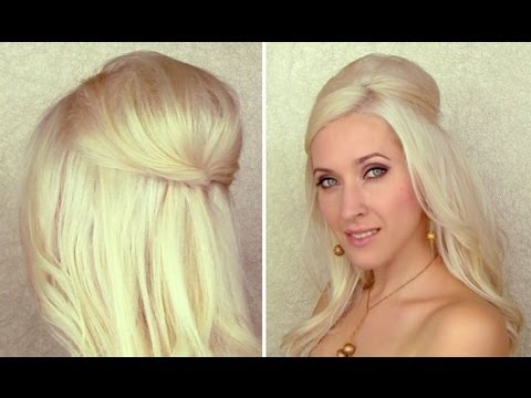 Half Updo With Curls And Bump/poof With Hidden Bobby Pins Hair Regarding Veiled Bump Bridal Hairstyles With Waves (View 21 of 25)