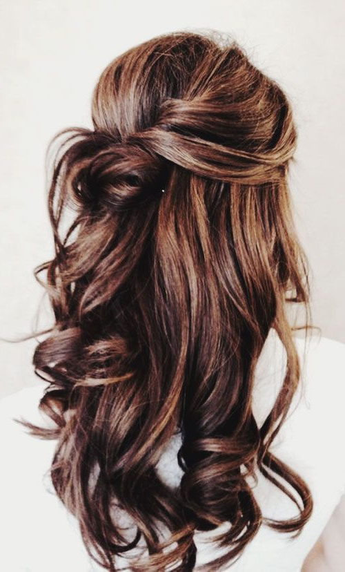 Highlights Half Up Half Down Curly Hair | Ideas | Pinterest | Hair Intended For Half Up Curly Hairstyles With Highlights (View 7 of 25)