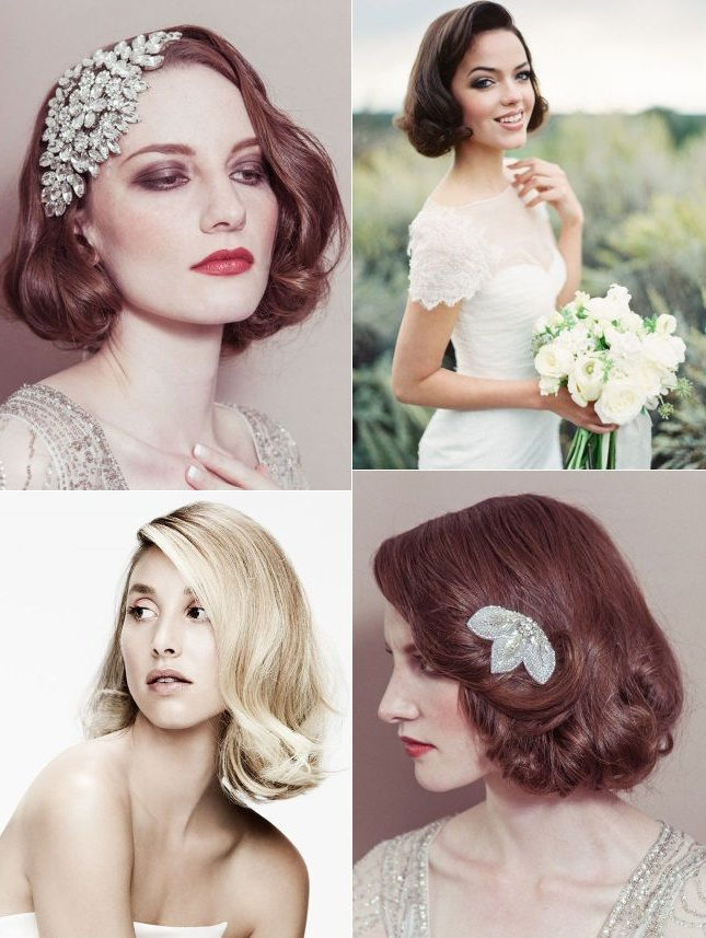 Hollywood Retro Vintage Glam Hairstyles For Brides With Short Hair With Retro Glam Wedding Hairstyles (View 5 of 25)