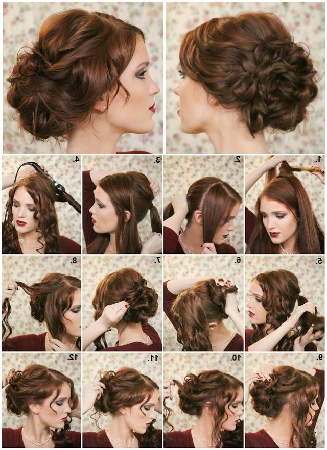 How To Make A Fancy Bun – Diy Hairstyle | Hair And Other Neat Stuff Throughout Loose Updo Wedding Hairstyles With Whipped Curls (View 8 of 25)
