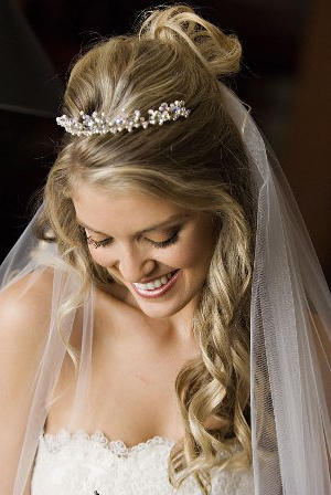 How To Set Up Those Wedding Hairstyles Curly And Cute – My Bride Hairs Pertaining To Long Curly Bridal Hairstyles With A Tiara (View 22 of 25)