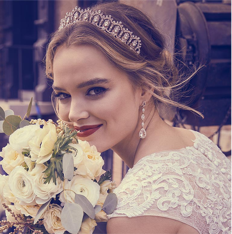 Ideas For Wedding Hairstyles   David's Bridal With Accessorized Undone Waves Bridal Hairstyles (View 20 of 25)