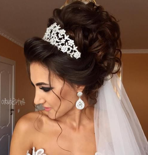 Image Result For Bridal Updos With Headband And Veil | My Wedding Intended For Curly Bridal Bun Hairstyles With Veil (View 2 of 25)