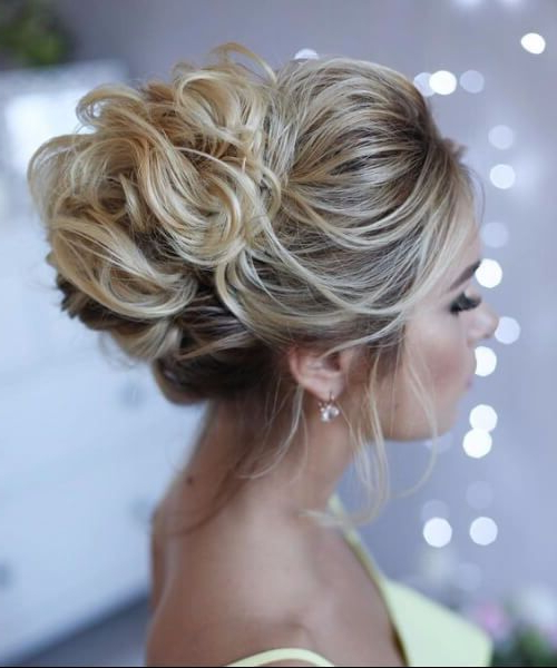 Image Result For Messy Buns For Prom | High Up Curly Bun | Pinterest Intended For Large Bun Wedding Hairstyles With Messy Curls (View 2 of 25)