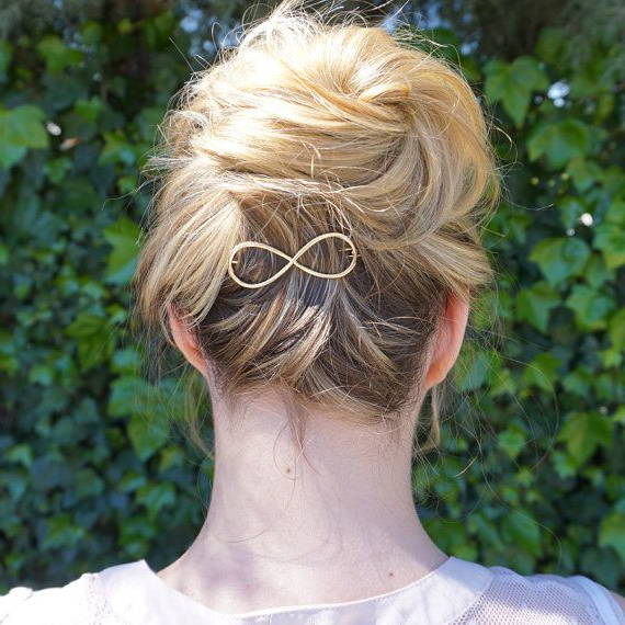 Infinity Golden Hair Clip, Gold Barrette, Gold Hair Clip, Women Hair With Regard To Infinity Wedding Updos (View 16 of 25)