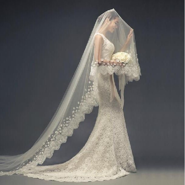 Ivory Extra Long Bridal Veils American Tulle 3M Cathedral Length Intended For Wedding Hairstyles With Extra Long Veil With A Train (View 15 of 25)