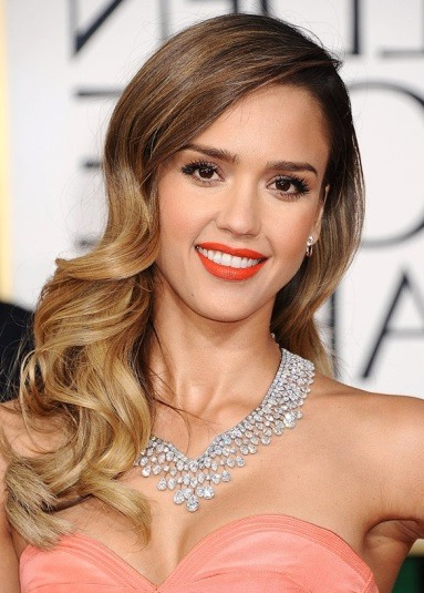 Jessica Alba's Side Parted Long Curly Hairstyle - Prom, Wedding intended for Sides-Parted Wedding Hairstyles