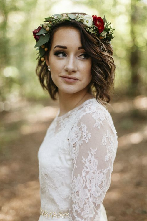 Julia + Garrett In Bohemian Curls Bridal Hairstyles With Floral Clip (View 10 of 25)