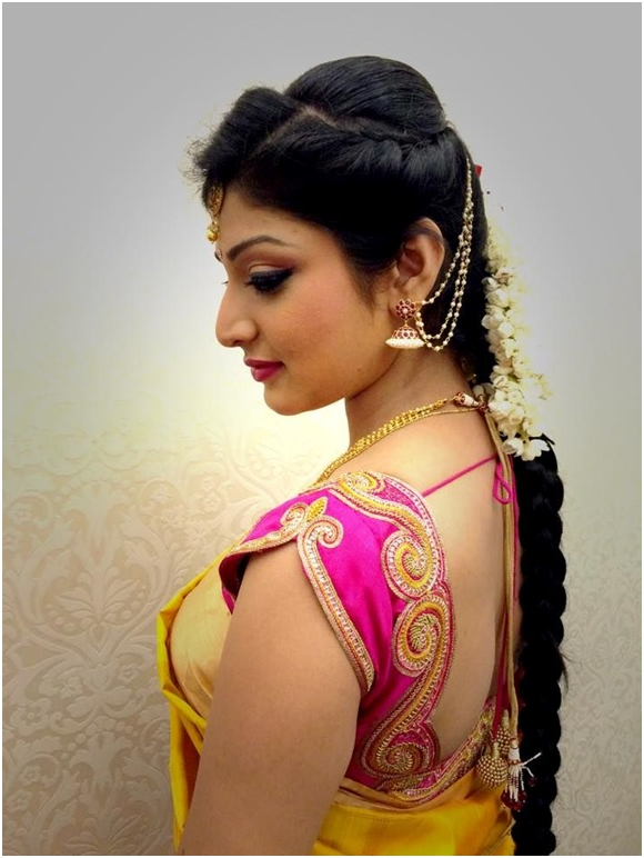 Latest Hairstyles That Suits All Types Of Sarees & Lehengas With Bumped Hairdo Bridal Hairstyles For Medium Hair (View 14 of 25)