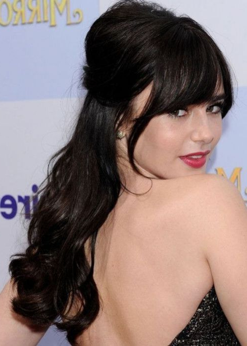 Lily Collins Half Up, Half Down Hairstyle: Bouffant And Dramatic In Semi Bouffant Bridal Hairstyles With Long Bangs (View 23 of 25)