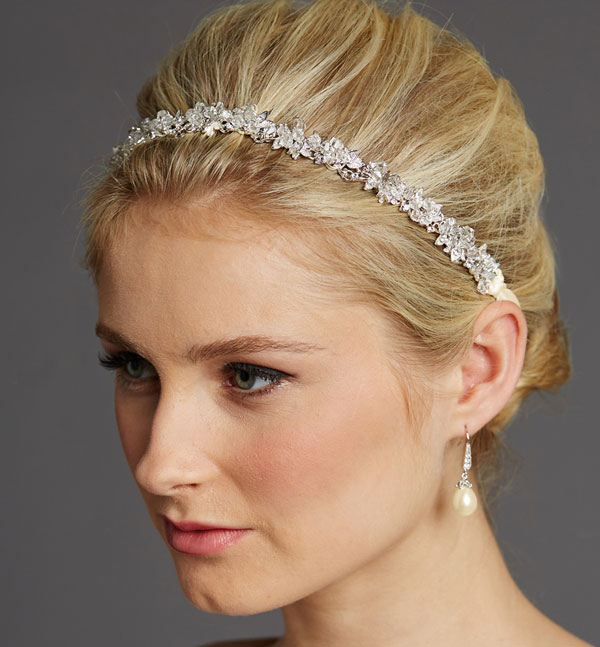 Lisette Bridal Headband – Zaphira Bridal Inside High Updos With Jeweled Headband For Brides (View 21 of 25)
