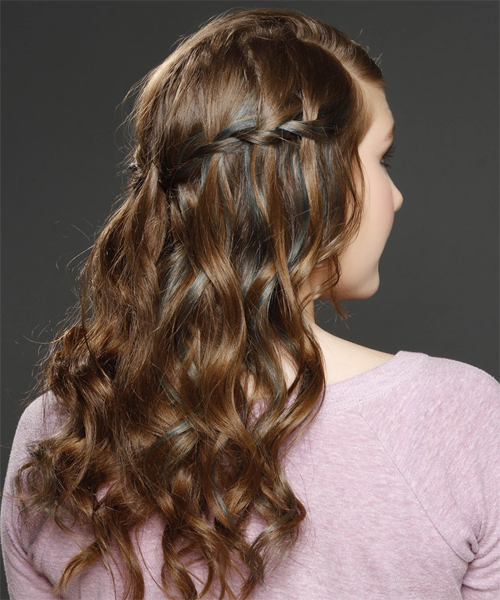 Long Curly Formal Half Up Hairstyle – Caramel Brunette Hair Color For Half Up Curly Hairstyles With Highlights (View 8 of 25)