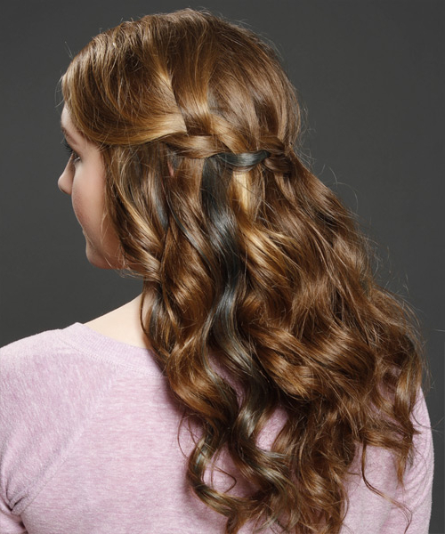Long Curly Formal Half Up Hairstyle – Caramel Brunette Hair Color In Half Up Curly Hairstyles With Highlights (View 6 of 25)