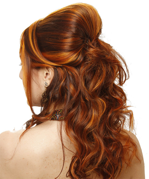 Long Curly Formal Half Up Hairstyle – Ginger Brunette Hair Color Inside Half Up Curly Hairstyles With Highlights (View 24 of 25)
