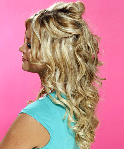 Long Curly Formal Half Up Hairstyle – Golden Blonde Hair Color With In Half Up Curly Hairstyles With Highlights (View 10 of 25)