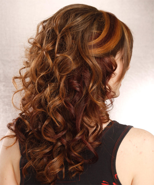 Long Curly Formal Half Up Hairstyle With Layered Bangs – Auburn Hair With Half Up Curly Hairstyles With Highlights (View 4 of 25)