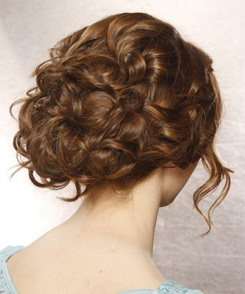 Long Curly Formal Updo Hairstyle With Side Swept Bangs – Brunette Regarding Formal Curly Updos With Bangs For Wedding (View 21 of 25)