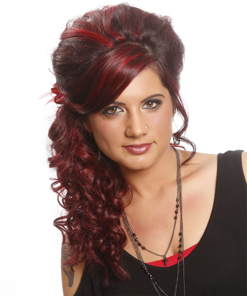 Long Curly Formal Updo Hairstyle With Side Swept Bangs – Dark Red Intended For Formal Curly Updos With Bangs For Wedding (View 9 of 25)