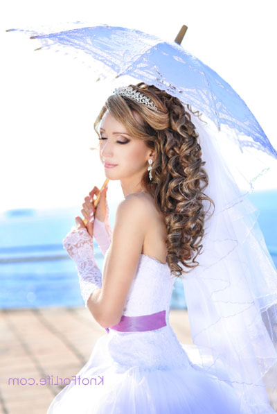 Long Wedding Hairstyles With Veils And Tiaras – Knot For Life Throughout Long Curly Bridal Hairstyles With A Tiara (View 6 of 25)