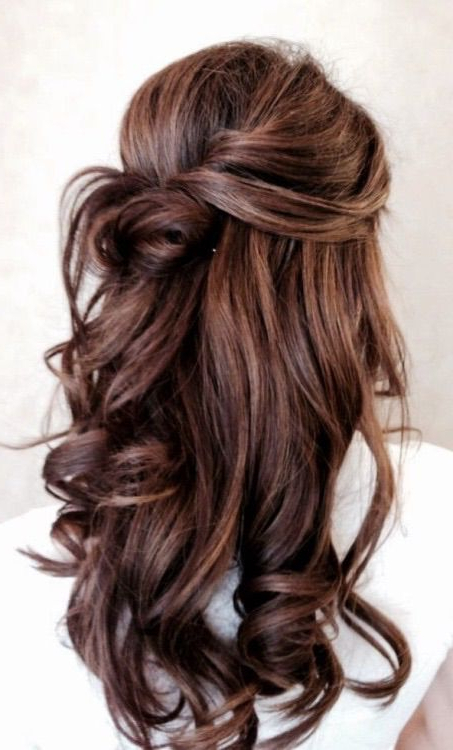 Loose Curls Pinned Back // Effortless | Hair Inspo | Pinterest Throughout Pinned Brunette Ribbons Bridal Hairstyles (View 1 of 25)