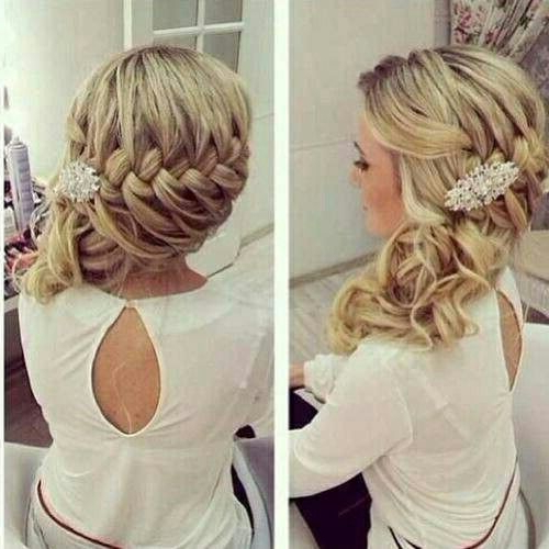 Loose Side Braid Cascading In Curls Very Pretty | Fabulous Pertaining To Fabulous Cascade Of Loose Curls Bridal Hairstyles (View 8 of 25)