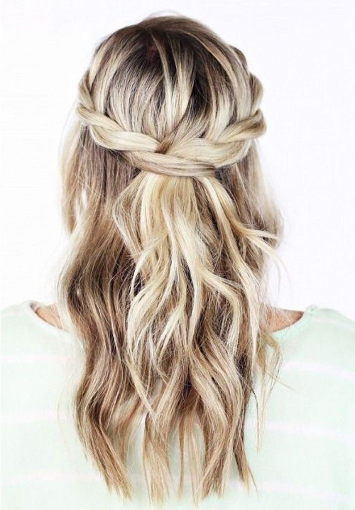 Loose Waves Pulled Back In A Messy Braid (View 5 of 25)