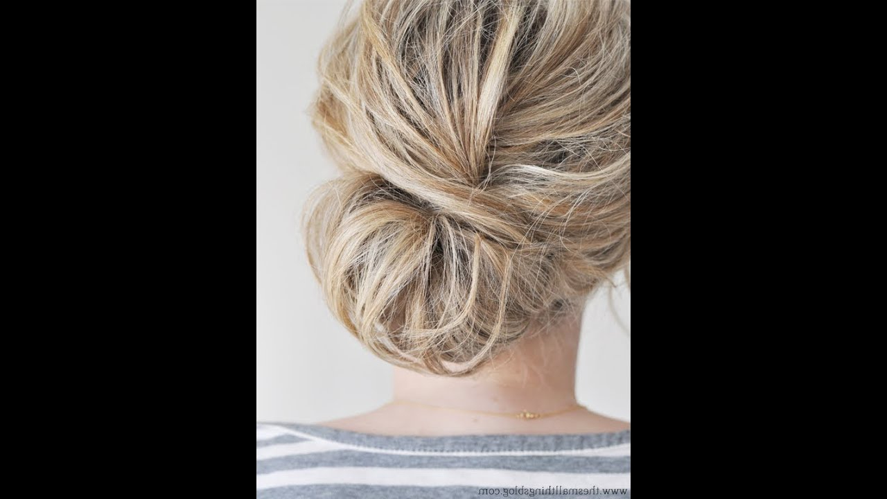 Low Chignon Hair Tutorial – Youtube Within Fancy Chignon Wedding Hairstyles For Lob Length Hair (View 19 of 25)