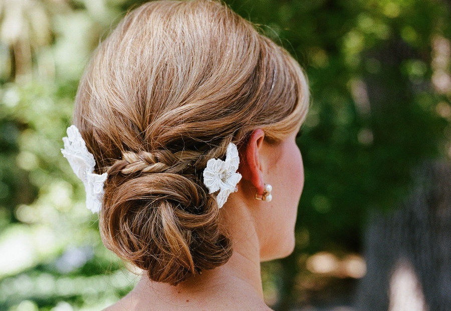 Low Twisted Bun Wedding Hairstyle With Braid For Twisted Low Bun Hairstyles For Wedding (View 24 of 25)