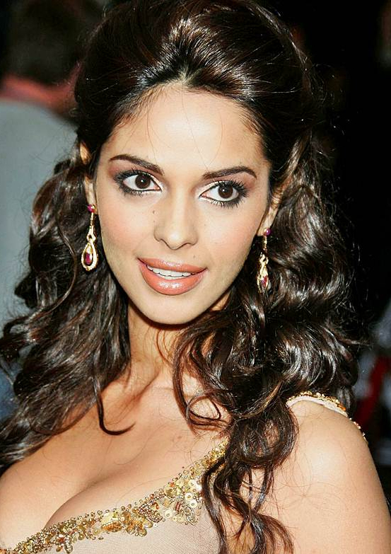 Mallika Sherawat's Curly Half Updo Hairstyle – Wedding, Formal Pertaining To Curly Wedding Updos With A Bouffant (View 24 of 25)