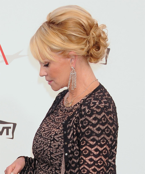 Melanie Griffith Long Curly Formal Updo Hairstyle – Golden Blonde Inside Curly Blonde Updo Hairstyles For Mother Of The Bride (View 12 of 25)