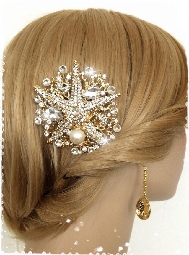 Mermaid Inspired Crystal Gold Starfish Beach Wedding Hair Comb For Mermaid Inspired Hairstyles For Wedding (View 18 of 25)