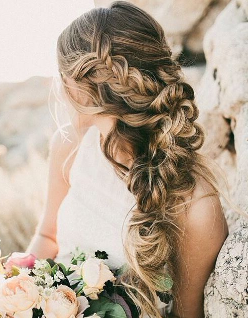 Messy Braid Hairstyle #gorgeoushair | H ? ? ? | Pinterest | Wedding With Tender Shapely Curls Hairstyles For A Romantic Wedding Look (View 15 of 25)