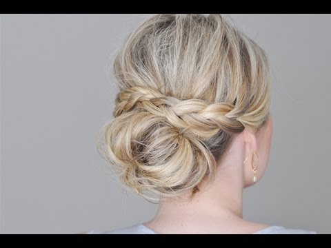 Messy Bun With A Braided Wrap – Youtube Pertaining To Messy Buns Updo Bridal Hairstyles (View 24 of 25)