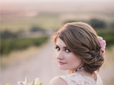Messy Bun With Flower – Wedding, Party, Formal, Evening In Pile Of Curls Hairstyles For Wedding (View 20 of 25)