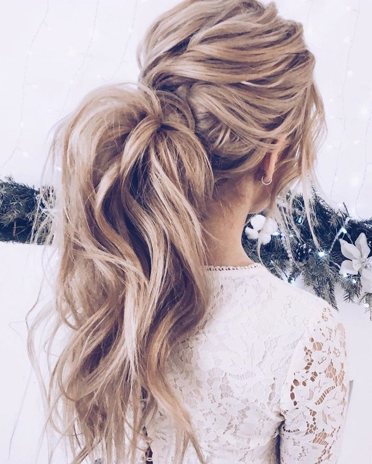 Messy Ponytail Hairstyles #weddinghair #ponytails #wedding Inside Fancy Flowing Ponytail Hairstyles For Wedding (View 7 of 25)