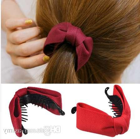 Mism Korean Sweet Fabric Bow Hair Claw Elegant Women Solid Cloth Within Ponytail Bridal Hairstyles With Headband And Bow (View 8 of 25)