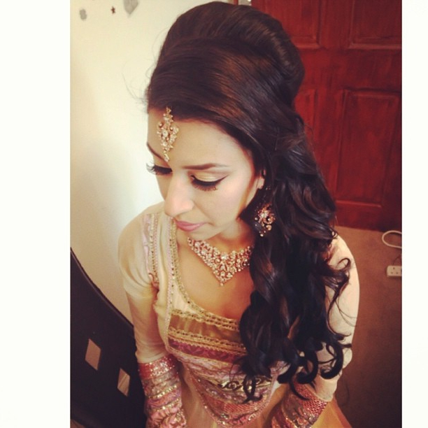 Mobeena All Set For Her Brothers Wedding, Hair All Curled Swept To Throughout Curly Wedding Updos With A Bouffant (View 25 of 25)