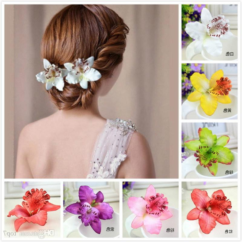 New Fashion Women's Phalaenopsis Orchid Artificial Flowers Hair Clip throughout Curly Wedding Hairstyles With An Orchid