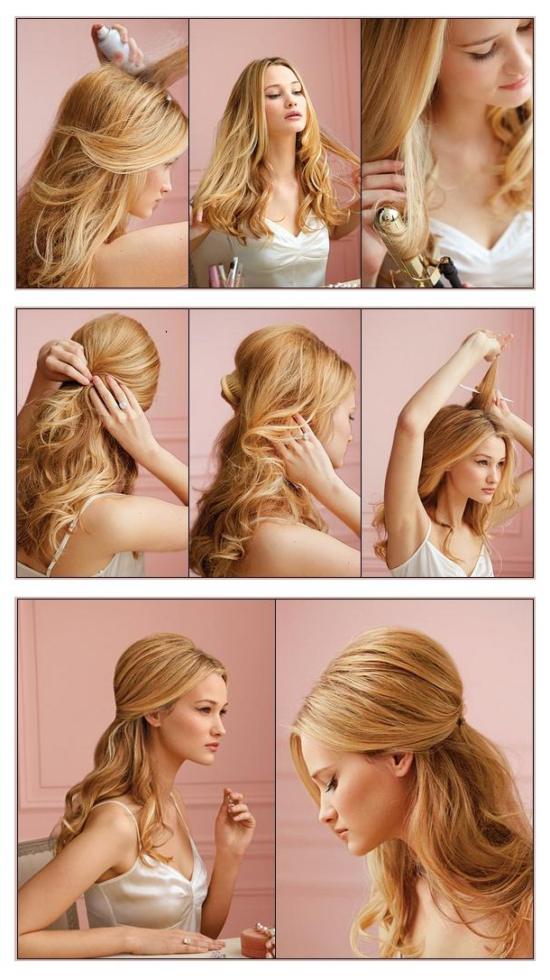 New Short Hair Styles: Make A Half Up Do For Your Hair In Bouffant Half Updo Wedding Hairstyles For Long Hair (View 15 of 25)