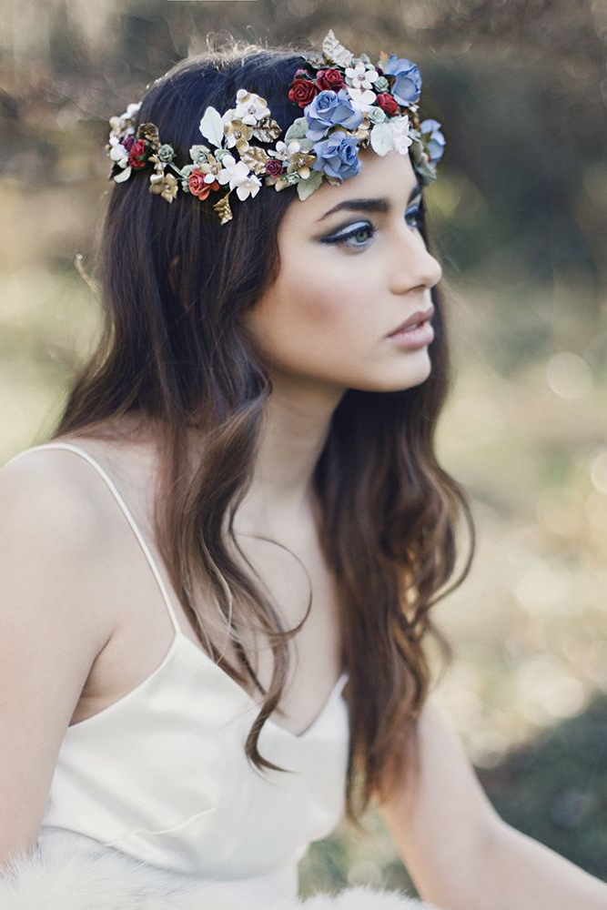 Otaduy Wedding Dresses For A Bohemian Bridal Inspiration Shoot Throughout Bohemian And Free Spirited Bridal Hairstyles (View 2 of 25)