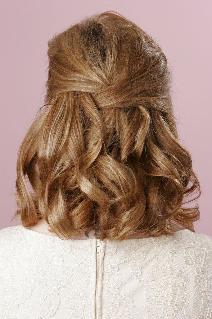 Pics For > Half Up Half Down Hairstyles Medium Length Hair Prom Throughout Medium Half Up Half Down Bridal Hairstyles With Fancy Knots (View 16 of 25)
