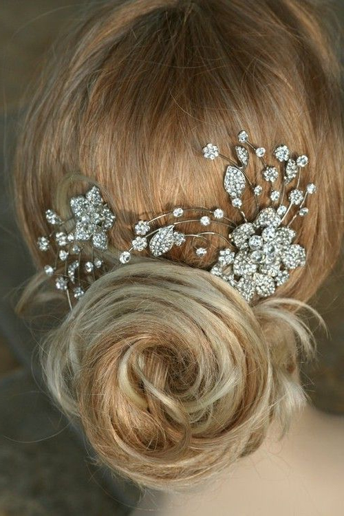 Pinjanice Pruitt Lanphere On Say I Do Ideas | Pinterest For Swirled Wedding Updos With Embellishment (View 9 of 25)