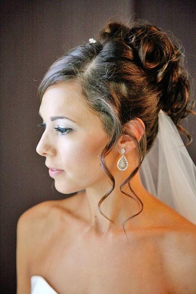 Pinnaomi Kay On Wedding | Wedding Hairstyles, Bridal Hair With Curly Bridal Bun Hairstyles With Veil (View 25 of 25)
