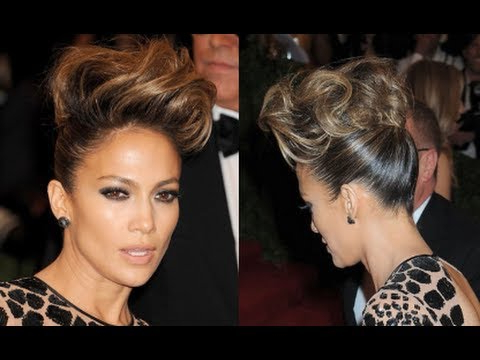 Pompadour Hair Tutorial | How To Get Jennifer Lopez's Updo Hairstyle With Regard To Pompadour Bun Hairstyles For Wedding (View 19 of 25)