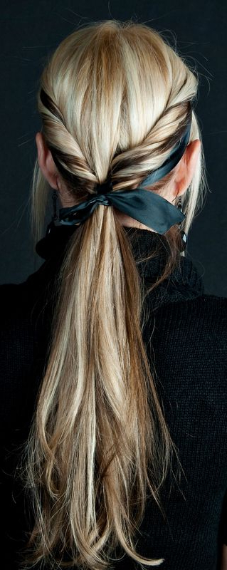 Ponytail Twist + Bow | Hairstyles I <3 | Pinterest | Ponytail, Twist Pertaining To Ponytail Bridal Hairstyles With Headband And Bow (View 3 of 25)