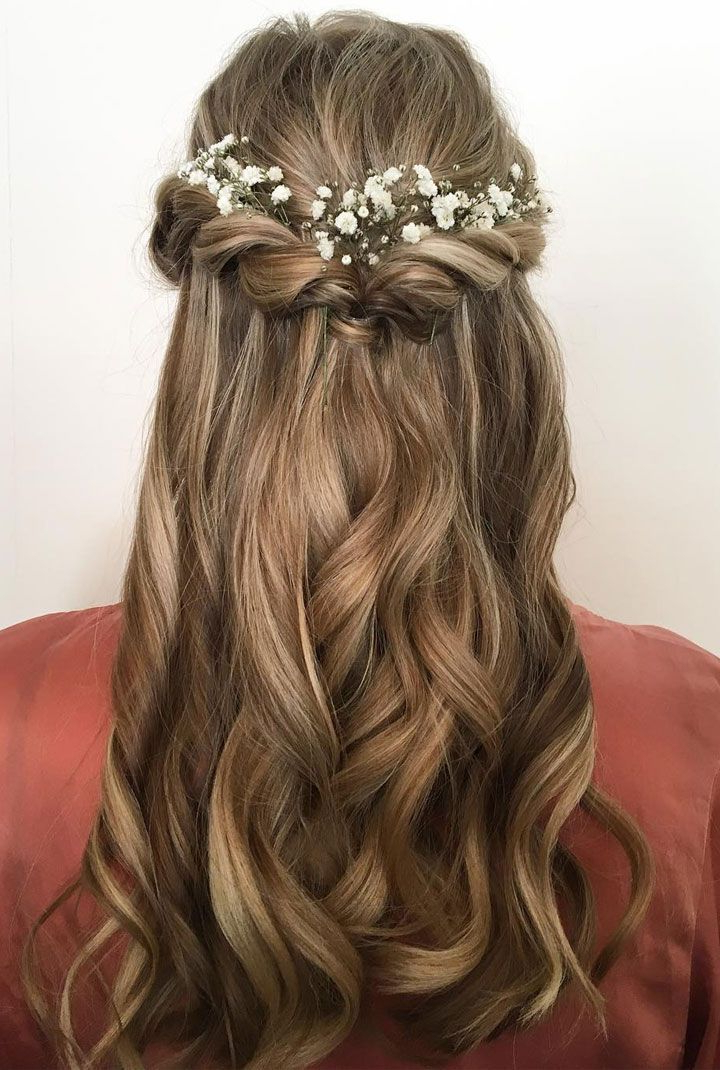 Pretty Half Up Half Down Hair Style Idea+ Using Flowers As Hair In French Twist Wedding Updos With Babys Breath (View 19 of 25)